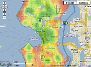 The Seattle city walkability map
